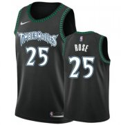Wholesale Cheap Nike Timberwolves 25 Derrick Rose Black Swimgman Jersey
