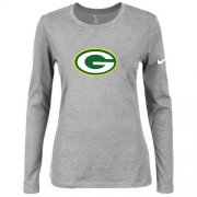 Wholesale Cheap Women's Nike Green Bay Packers Of The City Long Sleeve Tri-Blend NFL T-Shirt Light Grey