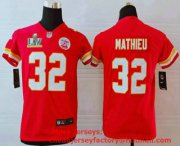 Wholesale Cheap Youth Kansas City Chiefs #32 Tyrann Mathieu Red 2021 Super Bowl LV Vapor Untouchable Stitched Nike Limited NFL Jersey