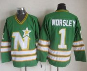 Wholesale Cheap Stars #1 Gump Worsley Green CCM Throwback Stitched NHL Jersey