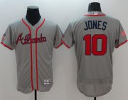 Wholesale Cheap Braves #10 Chipper Jones Grey Fashion Stars & Stripes Flexbase Authentic Stitched MLB Jersey