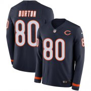 Wholesale Cheap Nike Bears #80 Trey Burton Navy Blue Team Color Men's Stitched NFL Limited Therma Long Sleeve Jersey