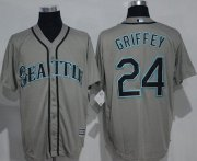 Wholesale Cheap Mariners #24 Ken Griffey Grey New Cool Base Stitched MLB Jersey