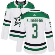 Cheap Adidas Stars #3 John Klingberg White Road Authentic Women's Stitched NHL Jersey