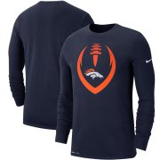 Wholesale Cheap Denver Broncos Nike Fan Gear Modern Icon Performance Long Sleeve T-Shirt Navy