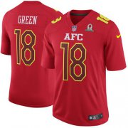 Wholesale Cheap Nike Bengals #18 A.J. Green Red Men's Stitched NFL Game AFC 2017 Pro Bowl Jersey