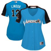 Wholesale Cheap Indians #12 Francisco Lindor Blue 2017 All-Star American League Women's Stitched MLB Jersey
