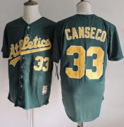 Wholesale Cheap Mitchell And Ness Athletics #33 Jose Canseco Green(Gold No.) Throwback Stitched MLB Jersey