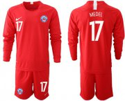 Wholesale Cheap Chile #17 Medel Home Long Sleeves Soccer Country Jersey