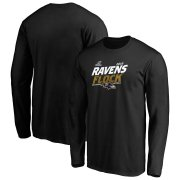 Wholesale Cheap Baltimore Ravens 2019 NFL Playoffs Bound Hometown Checkdown Long Sleeve T-Shirt Black