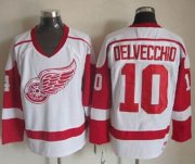 Wholesale Cheap Red Wings #10 Alex Delvecchio White CCM Throwback Stitched NHL Jersey