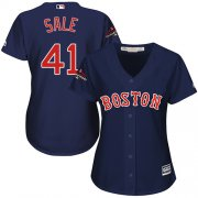 Wholesale Cheap Red Sox #41 Chris Sale Navy Blue Alternate 2018 World Series Champions Women's Stitched MLB Jersey
