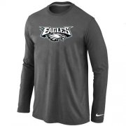 Wholesale Cheap Nike Philadelphia Eagles Authentic Logo Long Sleeve T-Shirt Dark Grey
