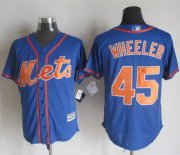 Wholesale Cheap Mets #45 Zack Wheeler Blue Alternate Home New Cool Base Stitched MLB Jersey