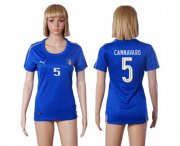 Wholesale Cheap Women's Italy #5 Cannavaro Home Soccer Country Jersey
