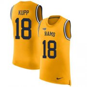 Wholesale Cheap Nike Rams #18 Cooper Kupp Gold Men's Stitched NFL Limited Rush Tank Top Jersey