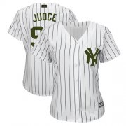 Wholesale Cheap Yankees #99 Aaron Judge White Strip 2018 Memorial Day Cool Base Women's Stitched MLB Jersey