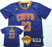 Wholesale Cheap Men's Cleveland Cavaliers #23 LeBron James 2015 The Finals New Navy Blue Short-Sleeved Jersey
