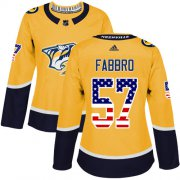 Wholesale Cheap Adidas Predators #57 Dante Fabbro Yellow Home Authentic USA Flag Women's Stitched NHL Jersey