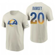Wholesale Cheap Los Angeles Rams #20 Jalen Ramsey Men's Cream 2020 Primary Logo NFL T-Shirt