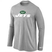 Wholesale Cheap Nike New York Jets Authentic Logo Long Sleeve T-Shirt Grey