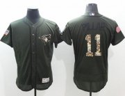 Wholesale Blue Jays #11 Kevin Pillar Green Flexbase Authentic Collection Salute to Service Stitched Baseball Jersey