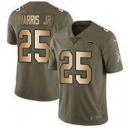 Wholesale Cheap Nike Chargers #25 Chris Harris Jr Olive/Gold Youth Stitched NFL Limited 2017 Salute To Service Jersey