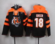 Wholesale Cheap Nike Bengals #18 A.J. Green Black Player Pullover NFL Hoodie
