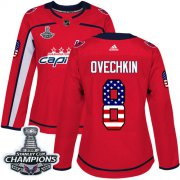 Wholesale Cheap Adidas Capitals #8 Alex Ovechkin Red Home Authentic USA Flag Stanley Cup Final Champions Women's Stitched NHL Jersey