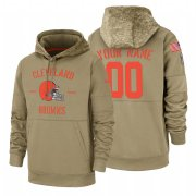 Wholesale Cheap Cleveland Browns Custom Nike Tan 2019 Salute To Service Name & Number Sideline Therma Pullover Hoodie