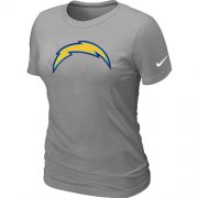 Wholesale Cheap Women's Nike Los Angeles Chargers Logo NFL T-Shirt Light Grey