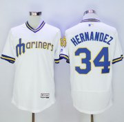 Wholesale Cheap Mariners #34 Felix Hernandez White Flexbase Authentic Collection Cooperstown Stitched MLB Jersey