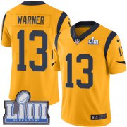 Wholesale Cheap Nike Rams #13 Kurt Warner Gold Super Bowl LIII Bound Men's Stitched NFL Limited Rush Jersey