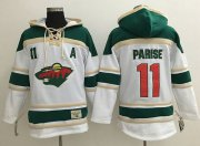 Wholesale Cheap Wild #11 Zach Parise White Sawyer Hooded Sweatshirt Stitched NHL Jersey