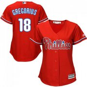 Wholesale Cheap Phillies #18 Didi Gregorius Red Alternate Women's Stitched MLB Jersey