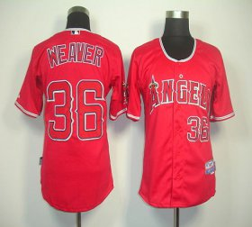Wholesale Cheap Angels of Anaheim #36 Weaver Jered Red Cool Base Stitched MLB Jersey