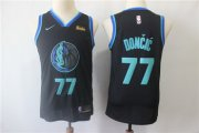 Wholesale Cheap Mavericks 77 Luka Doncic Black Men's City Edition Nike Swingman Jersey