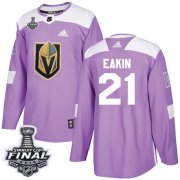 Wholesale Cheap Adidas Golden Knights #21 Cody Eakin Purple Authentic Fights Cancer 2018 Stanley Cup Final Stitched NHL Jersey