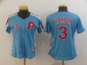 Wholesale Cheap Phillies #3 Bryce Harper Light Blue Alternate Cooperstown Women's Stitched MLB Jersey