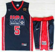 Wholesale Cheap USA Basketball 1992 Olympic Dream Team Suits #5 David Robinson Blue Jerseys & Shorts