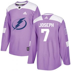 Cheap Adidas Lightning #7 Mathieu Joseph Purple Authentic Fights Cancer Youth Stitched NHL Jersey