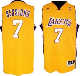 Wholesale Cheap Los Angeles Lakers #7 Ramon Sessions Revolution 30 Swingman Yellow Jersey