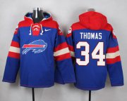 Wholesale Cheap Nike Bills #34 Thurman Thomas Royal Blue Player Pullover NFL Hoodie