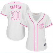 Wholesale Cheap Indians #30 Joe Carter White/Pink Fashion Women's Stitched MLB Jersey