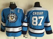Wholesale Cheap Penguins #87 Sidney Crosby Blue CCM Throwback Stitched Youth NHL Jersey
