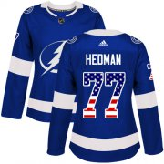 Wholesale Cheap Adidas Lightning #77 Victor Hedman Blue Home Authentic USA Flag Women's Stitched NHL Jersey