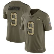 Wholesale Cheap Nike Bengals #9 Joe Burrow Olive/Camo Men's Stitched NFL Limited 2017 Salute To Service Jersey