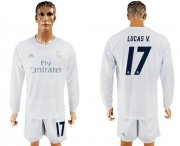 Wholesale Cheap Real Madrid #17 Lucas V. Marine Environmental Protection Home Long Sleeves Soccer Club Jersey