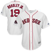 Wholesale Cheap Boston Red Sox #19 Jackie Bradley Jr. Majestic 2018 World Series Champions Team Logo Player Jersey White