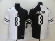 Wholesale Cheap Men's Baltimore Ravens #8 Lamar Jackson White Black Peaceful Coexisting 2020 Vapor Untouchable Stitched NFL Nike Limited Jersey